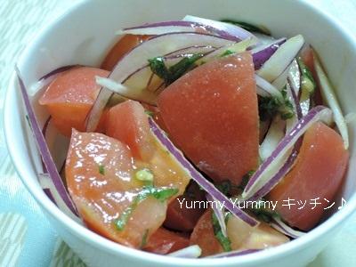 トマトと大葉、レッドアーリーのオリーブ塩サラダ♪