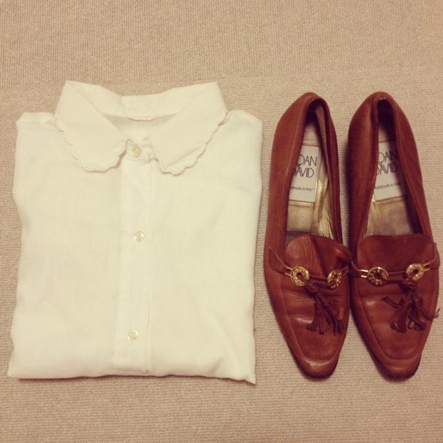 hemming shop白シャツ&茶レザーシューズ