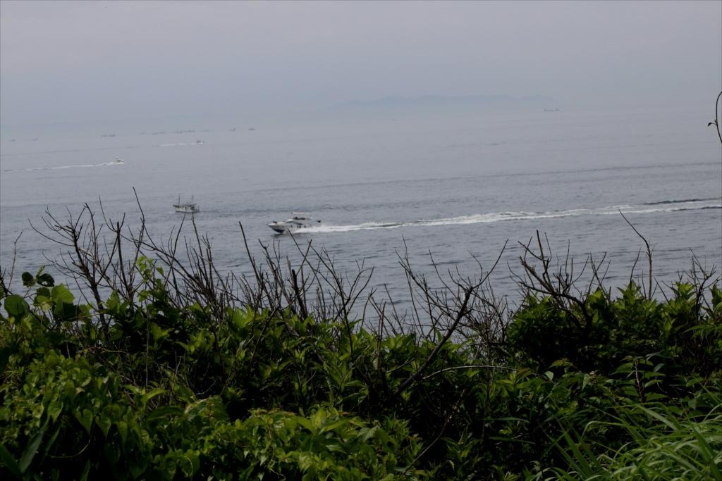 パワーボートが釣り船の客達の顰蹙を買っているようだ