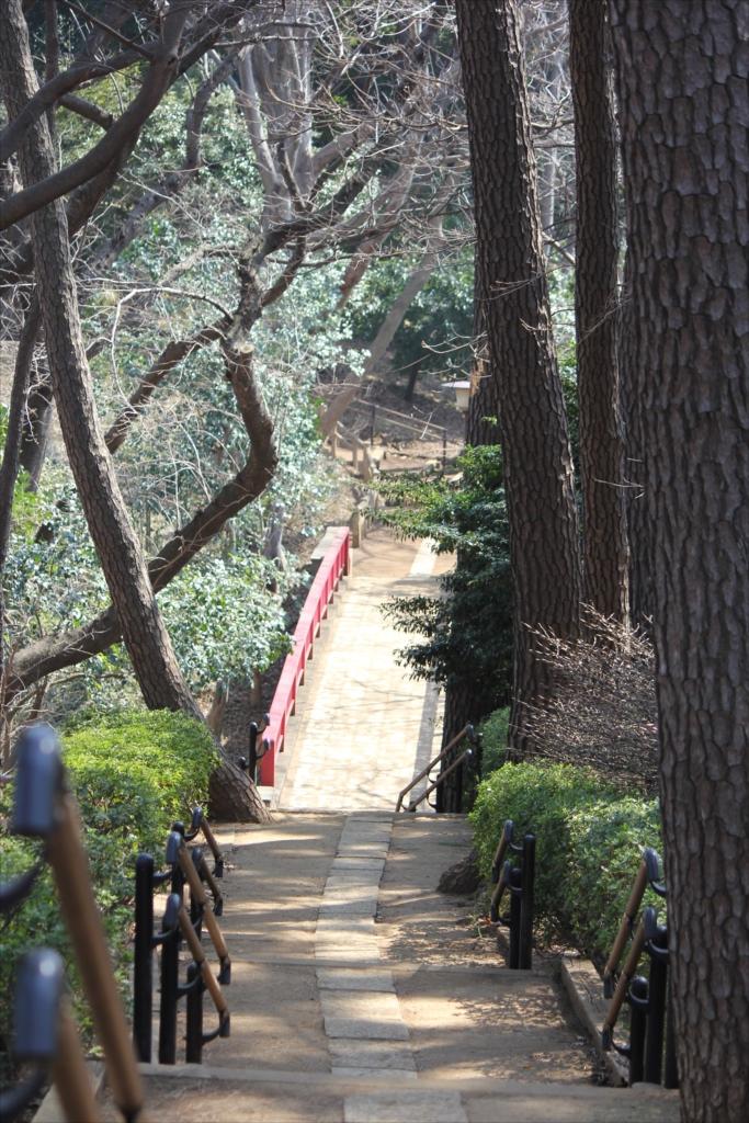 階段を下りて、虹橋を目指す