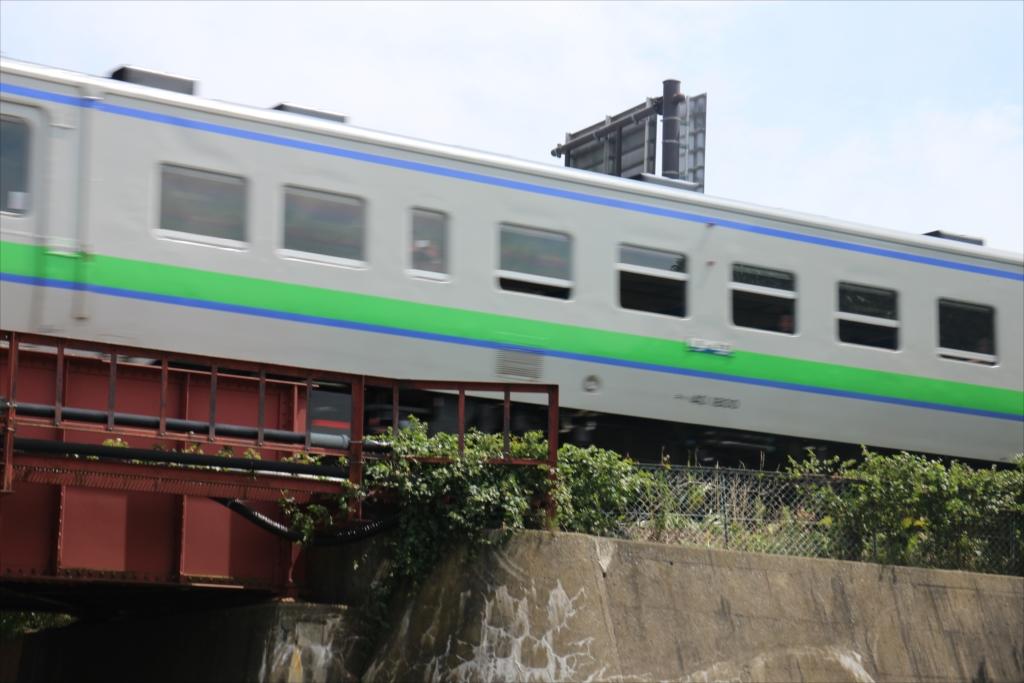 橋を潜ろうとした時に列車が通過