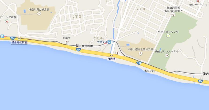 七里ヶ浜駅付近の地図