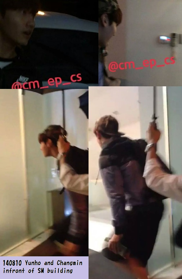 140810 Yunho and Changmin infront of SM building3