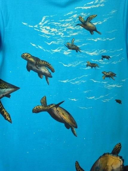 ウミガメ 手描きTシャツ