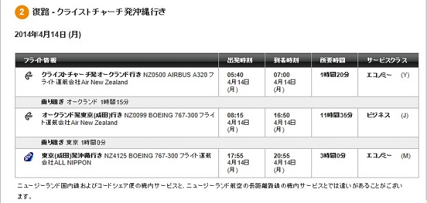 ニュージーランド航空②