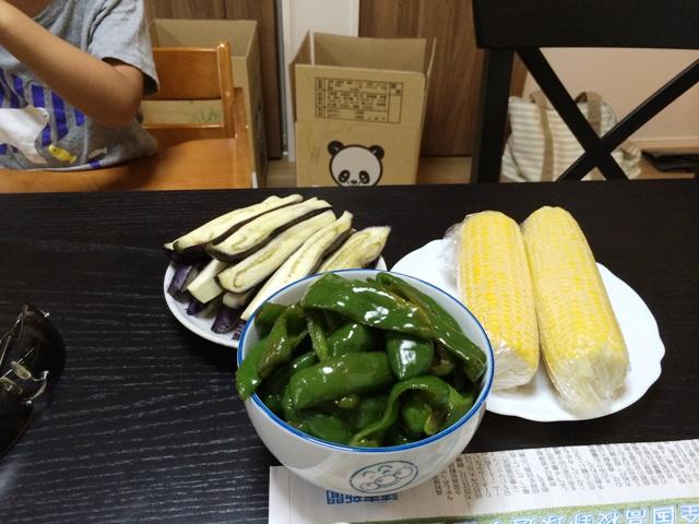 茹でた夏野菜