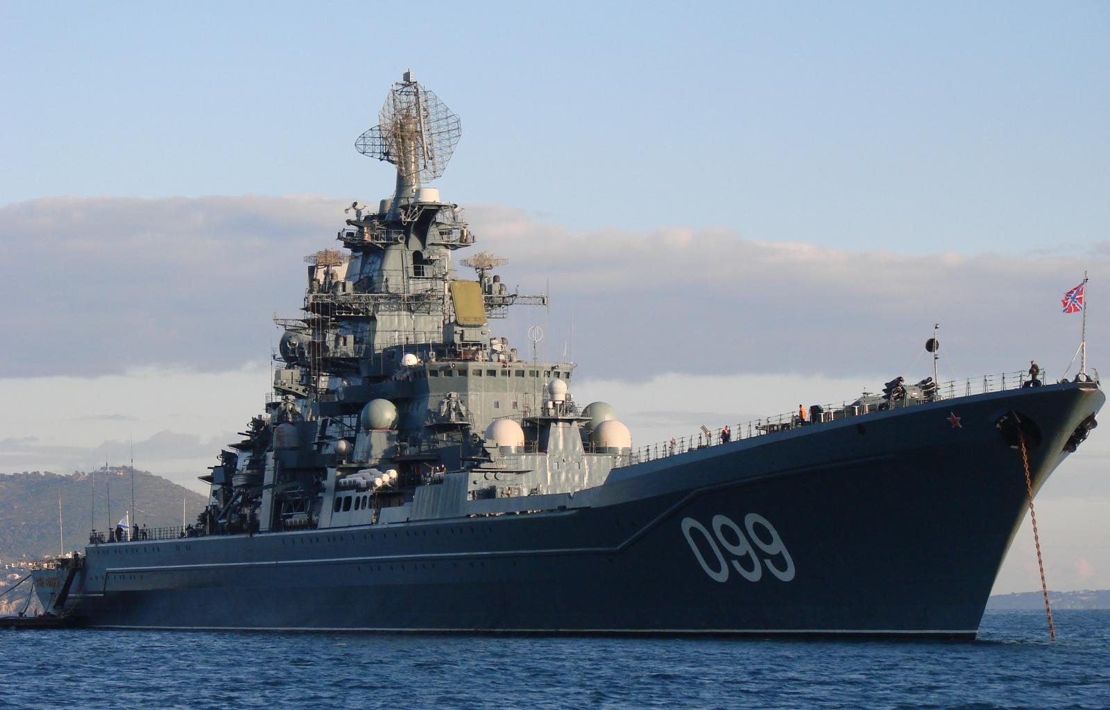 ロシア海軍の重原子力ロケット巡洋艦ピョートル・ヴェリキーは地中海を ...