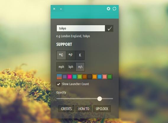 Typhoon Ubuntu 天気 ウィジェット 色や透明度のカスタマイズ