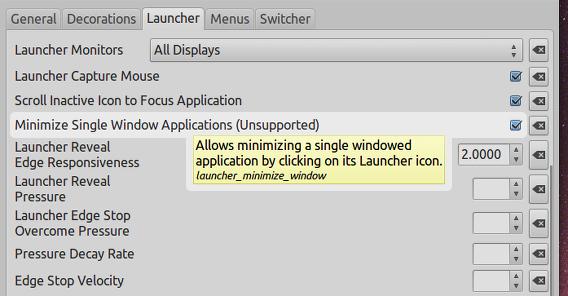 Ubunt 14.04 CompizConfig 設定マネージャ ウィンドウの最小化